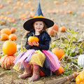 Little girl wearing halloween witch costume on pumpkin patch Royalty Free Stock Photo