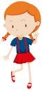 Little girl wearing red skirt Royalty Free Stock Photo