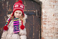 Little girl wearing winter outwear Royalty Free Stock Photo