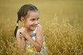 Little girl in wheat field Royalty Free Stock Photo