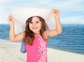 Little Girl in White Beach Hat Royalty Free Stock Photo