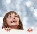 Little girl with  white board Stock Photography