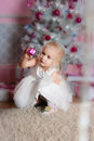 Little girl white christmas fir tree Royalty Free Stock Photo