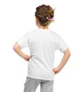 Little girl in white t shirt back isolated on a background Royalty Free Stock Photos
