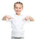 Little girl in white t shirt cute tshirt isolated on a background Royalty Free Stock Photos