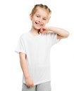 Little girl in white t shirt cute tshirt isolated on a background studio shoot Royalty Free Stock Photography