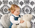 Little Girl with White Teddy Bear Royalty Free Stock Photo