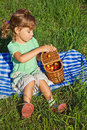 Little Girl will get from basket sweet cherries Royalty Free Stock Photo