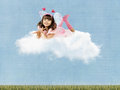 Little girl with wings clouds collage beautiful fun lie on and smile on sky background Royalty Free Stock Photo