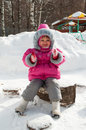Little girl on winter walk Royalty Free Stock Image