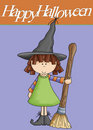 Little Girl Witch Happy Halloween Stock Photography