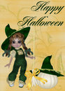 Little Girl Witch, Pumpkin & Happy Halloween Royalty Free Stock Photography