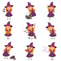 Little girl witch set wearing purple dress and hat Royalty Free Stock Photo