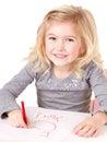 Little girl writting I love you Stock Image