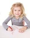 Little girl writting I love you mom Stock Images