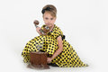 Little girl in a yellow dress Stock Photo