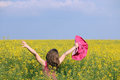 Little girl on yellow flower field Royalty Free Stock Photo