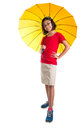 Little girl and yellow umbrella xi malay asian with over white background Royalty Free Stock Photos