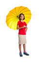 Little girl and yellow umbrella xii malay asian with over white background Royalty Free Stock Image