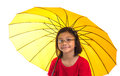 Little girl and yellow umbrella xiii malay asian with over white background Royalty Free Stock Image