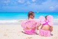 Little girls with butterfly wings on beach summer Royalty Free Stock Photo
