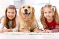 Little girls and dog lying on floor smiling prone golden retriever between them Stock Photos