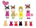 Little girls and dresses vector Stock Images