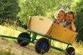 Little girls enjoying nature Royalty Free Stock Photo