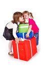 Little girls with gift boxes Royalty Free Stock Photography