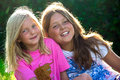 Little girls in nature portrait of two Royalty Free Stock Image