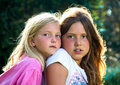 Little girls in nature portrait of two Royalty Free Stock Photography