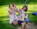 Little Girls Playing at Park Royalty Free Stock Images