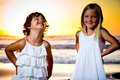 Little girls in a sunset portrait of Royalty Free Stock Photo