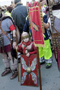 Little gladiator during an exibition event exhibition of roman gladiators location ladispoli near rome date april Stock Photo