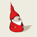 Little gnome with beard and hat red a white wearing a a red coat Stock Images