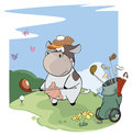 A little golfer cow. Cartoon Royalty Free Stock Photo