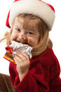 Little gourmet in Santa hat, isolated Stock Photo