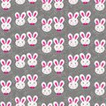 Little gray pink rabbit couple in regular rows with gray delicate branches on dark background easter spring holiday seamless Stock Photo