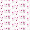 Little gray pink rabbit couple in regular rows with gray delicate branches on white background easter spring holiday seamless Royalty Free Stock Image