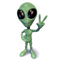 Little green alien gesturing peace Stock Image