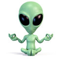 Little green alien meditating Royalty Free Stock Photo