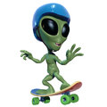 Little green alien skateboarding Royalty Free Stock Photos