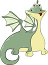 Little green dragon cartoon with red language Stock Image