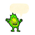 Little green flame spirit cartoon Stock Image