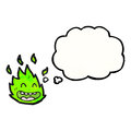Little green flame spirit cartoon Stock Photo