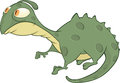 Little green lizard cartoon with the big eyes Stock Images