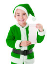 Little green Santa Claus boy showing wish list Royalty Free Stock Photo