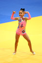 Little gymnast performing a floor exercise demonstration during the break of the european judo championships for individual Stock Photography