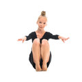 Little gymnast stretching on the floor Royalty Free Stock Photo