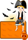 Little Halloween Pirate place card Royalty Free Stock Photography